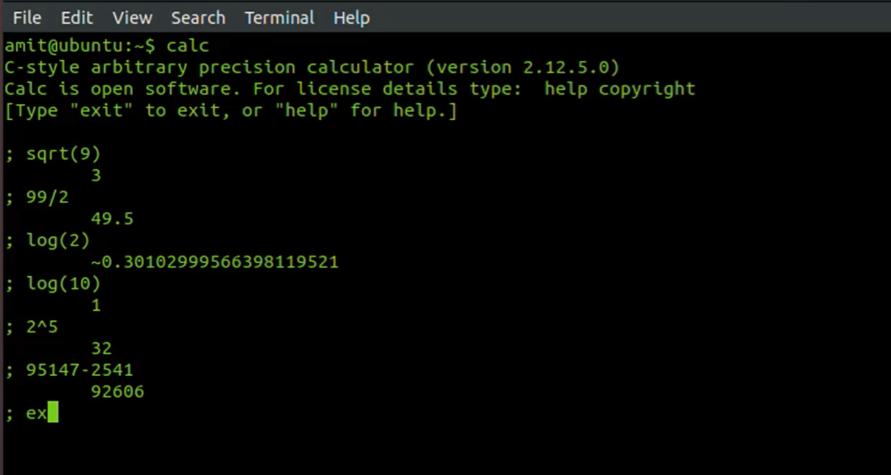 use terminal as calculator in ubuntu