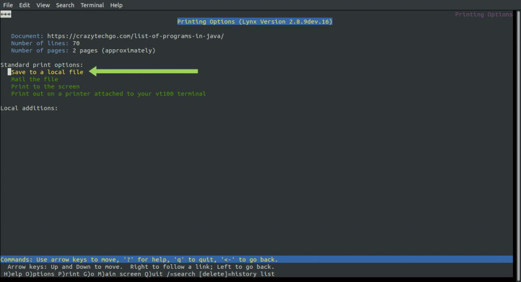 command line broswer linux