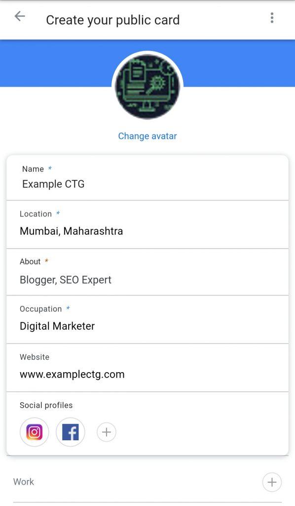 create people card on google