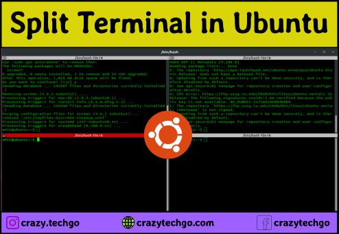 how to split terminal in ubuntu